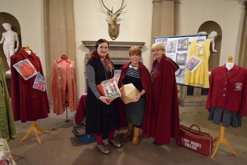 Gemma Nemer, Jo Owen and Sue Gravill with the Lady Mabel archive material